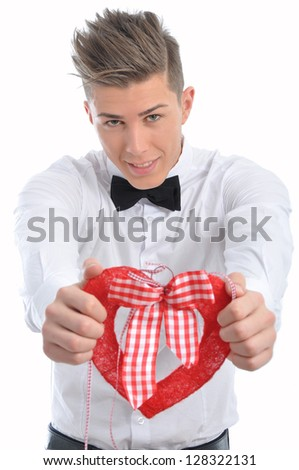 Male model offers a heart symbol on valentine's day - stock photo
