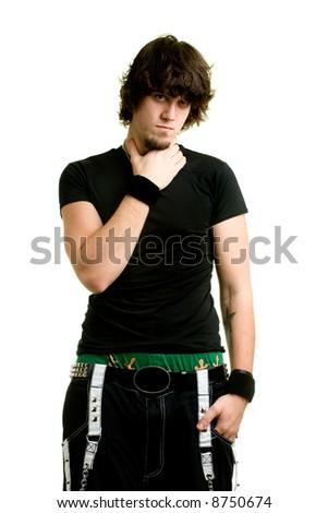 Male model posing in a black shirt - stock photo