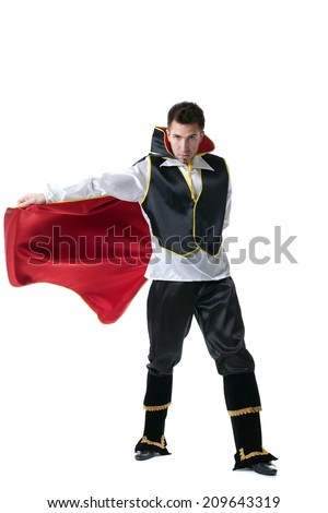 Male model posing in costume of illusionist