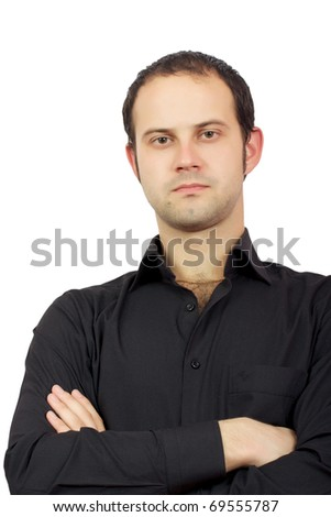 male model posing in trendy clothes on the white background