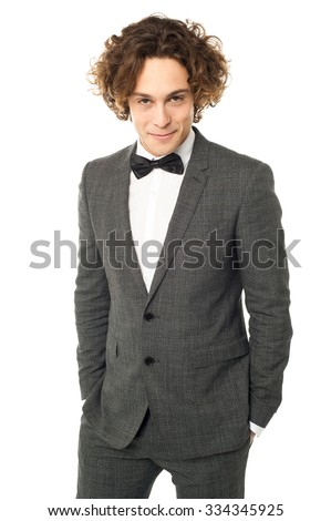 Male model posing with evil smile - stock photo