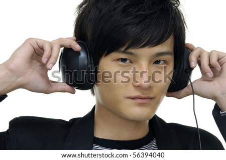 male model wearing head phones