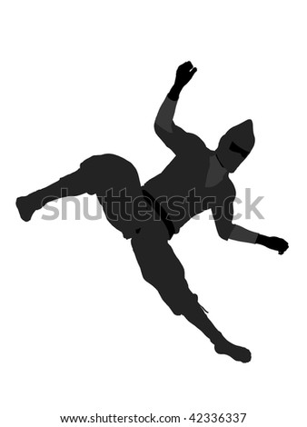 Male ninja silhouette illustration on a white background