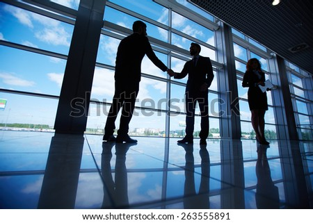 Male office workers standing by the window and handshaking with their colleague near by - stock photo