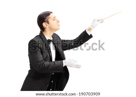 Male orchestra conductor directing with stick isolated on white background - stock photo
