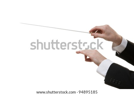 Male orchestra conductor hands, one with baton. White background. - stock photo