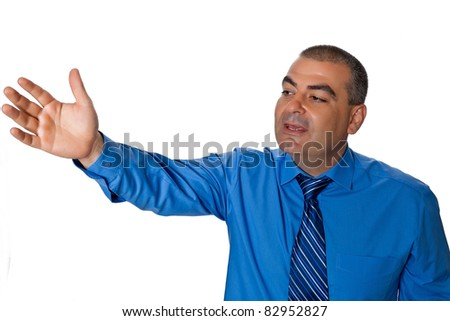 Male outstretched hand gesture and voice calls is isolated on a white background