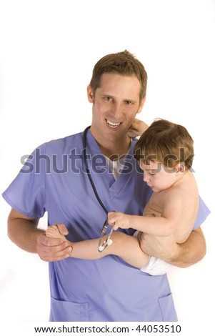 Male pediatrician holding a baby boy on white. - stock photo