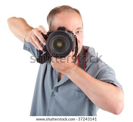 Male Photographer Shooting You - stock photo