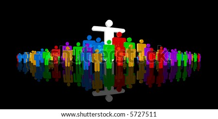 male pictographs with several colors, one with arms spread - stock photo