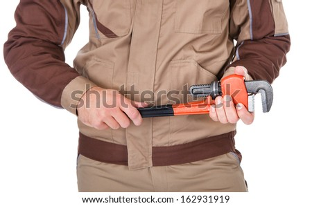 Male Plumber Holding Wrench And Toolkit On White Background