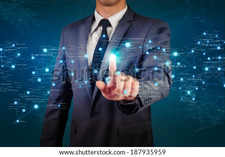 male pointing glow network structure - stock photo