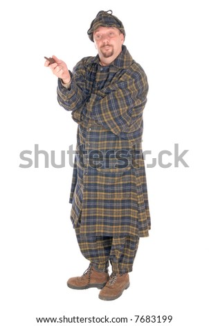 Male police officer dressed up as detective Sherlock Holmes investigating crime scene, white background - stock photo