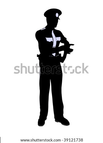 Male police officer silhouette illustration on a white background