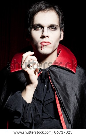 Male, powerful vampire - stock photo