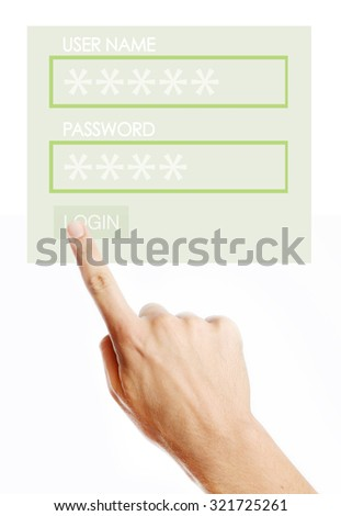 Male pressing login button on virtual screen - stock photo