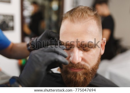 Male Professional Hairdresser Serving Client, Shearing Eyebrows With  Scissors. Ginger Stylish Young Man With