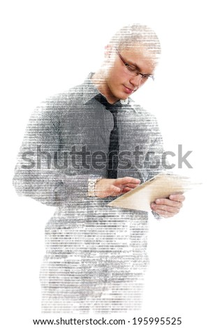 Male programmer with tablet pc on white background. - stock photo