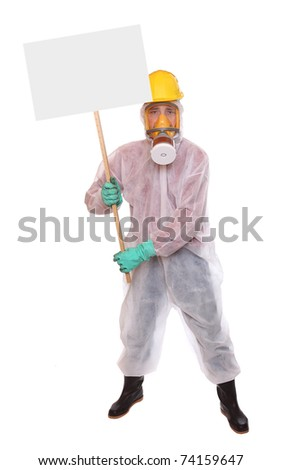 Male protester in protective suit for bio-hazard with blank protest sign. - stock photo