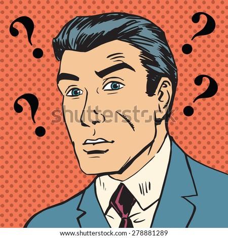 Male question marks misunderstanding Enigma Emotional reaction men pop art comics retro style Halftone. Imitation of old illustrations - stock photo