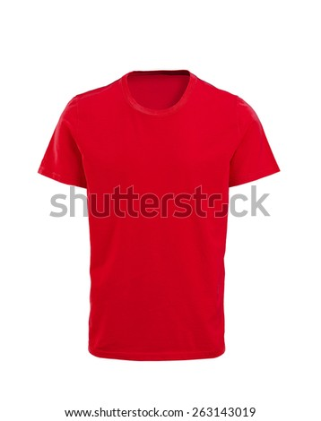 Male red t-shirt isolated on white background - stock photo