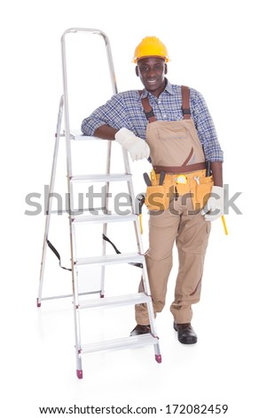 Male Repairman Leaning On Ladder Over White Background - stock photo