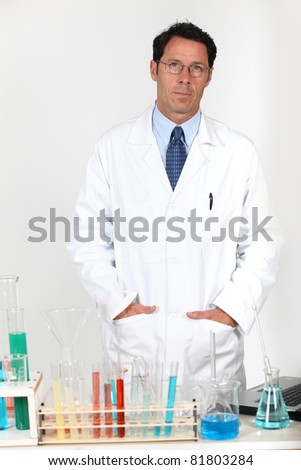Male researcher in laboratory - stock photo