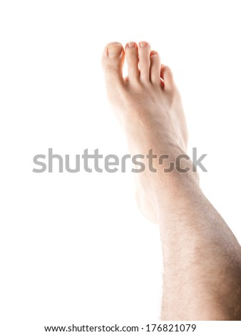 Male right leg with hair, isolated towards white background - stock photo