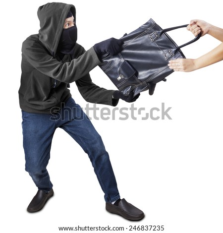 Male robber robbing a handbag of woman, isolated on white background - stock photo