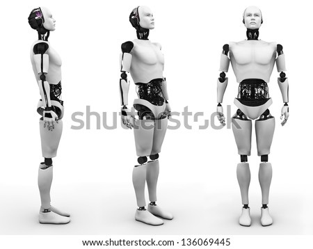 Male robot standing, a view of it from three different angles. White background. - stock photo