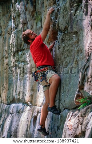 Male Rock Climber in the New River Gorge, West Virginia - stock photo
