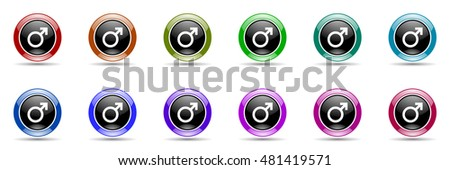 male round glossy colorful web icon set