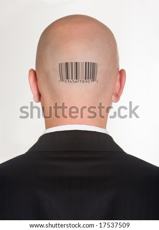 Male�s back of head with printed barcode on it - stock photo