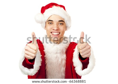 male santa claus teenager shows both thumbs up. Isolated on white background.