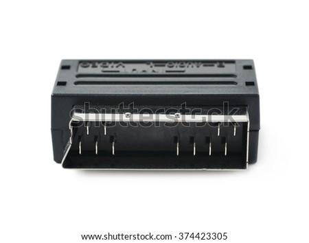 Male SCART AV adaptor isolated - stock photo