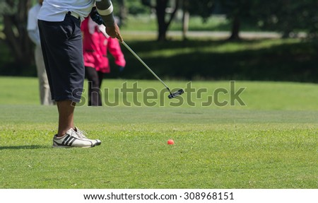 Male senior golf player putting on green on afternoon time, with empty copyspace.