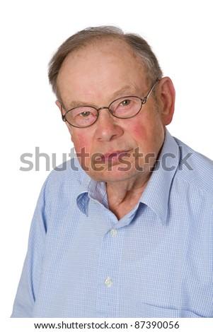 Male senior isolated on white background. - stock photo