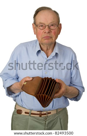 Male senior with empty wallet isolated on white background. - stock photo