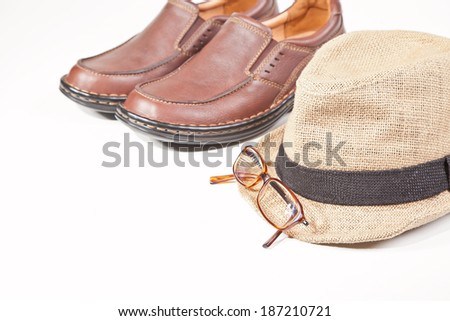 Male shoes isolated on white - stock photo
