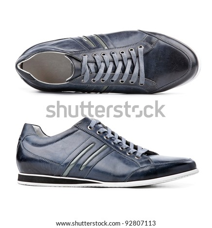 Male shoes over white, view from above and side view - stock photo