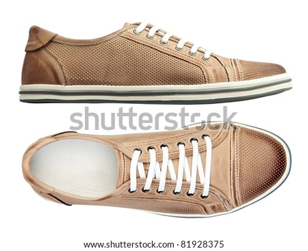Male shoes over white, with clipping path - stock photo
