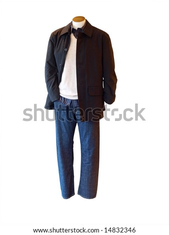 Male shop mannequin dressed in casual clothes Isolated with clipping path - stock photo