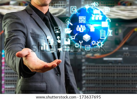male showing floating icon - stock photo