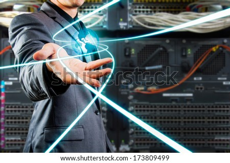 male showing glow globe and glow line - stock photo