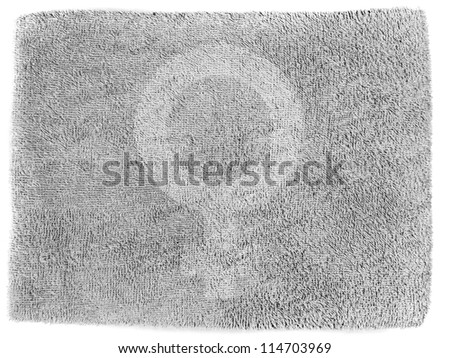 Male sign drawn at grey towel - stock photo