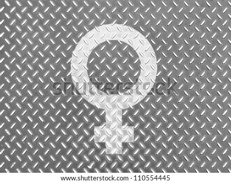 Male sign drawn at metal floor - stock photo