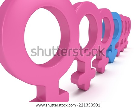 Male sign in row of Female signs on white background. 3D render. Gender, sex, love, man and woman concept. - stock photo