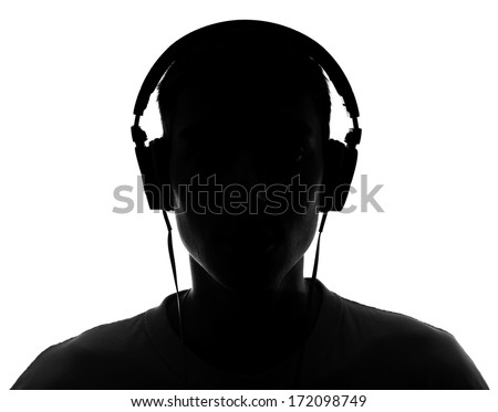 Male silhouette with headphones.Isolated on white background - stock photo