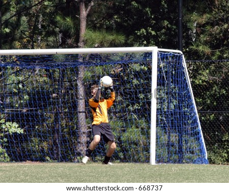 Male Soccer Goal Keeper making a save - stock photo