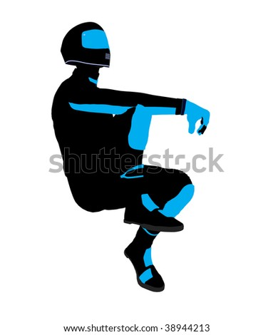 Male sports biker art illustration silhouette on a white background